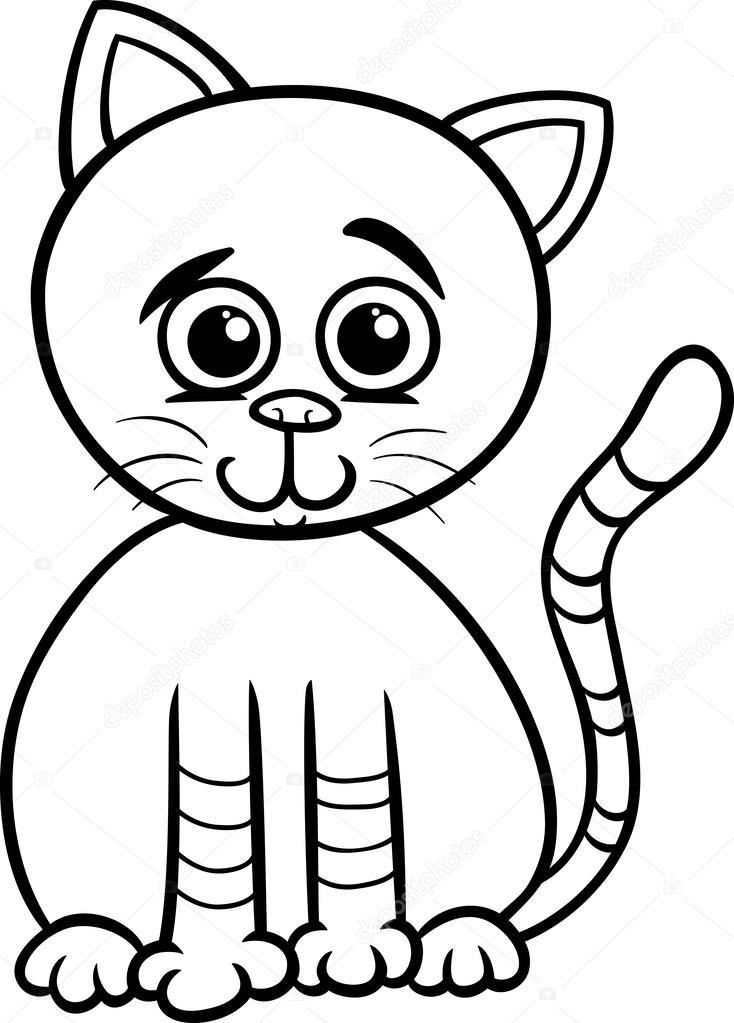 Sevimli Kedi çizgi Film Boyama Sayfası Stok Vektör Izakowski