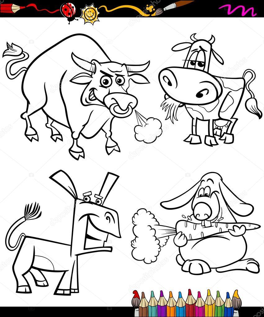 conjunto de animales de granja dibujos animados para colorear libro ...