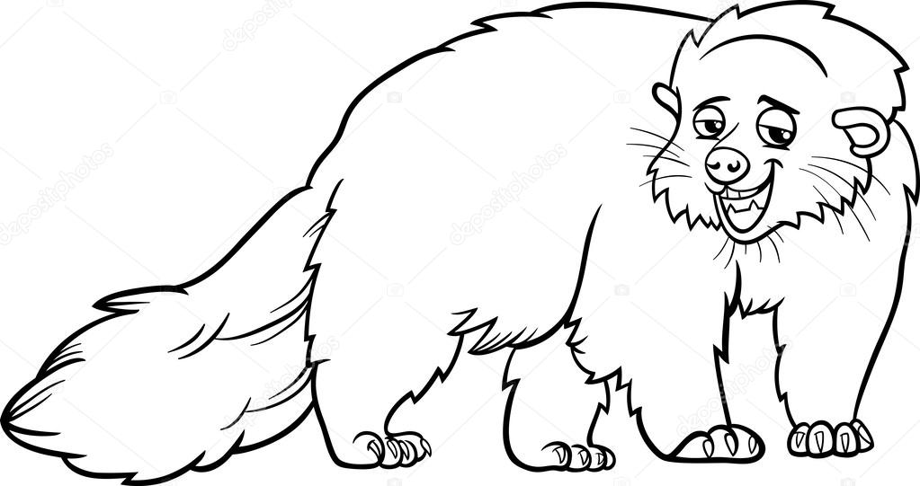 Superior Bearcat Animal Cartoon Coloring Page U2014 Stock Vector