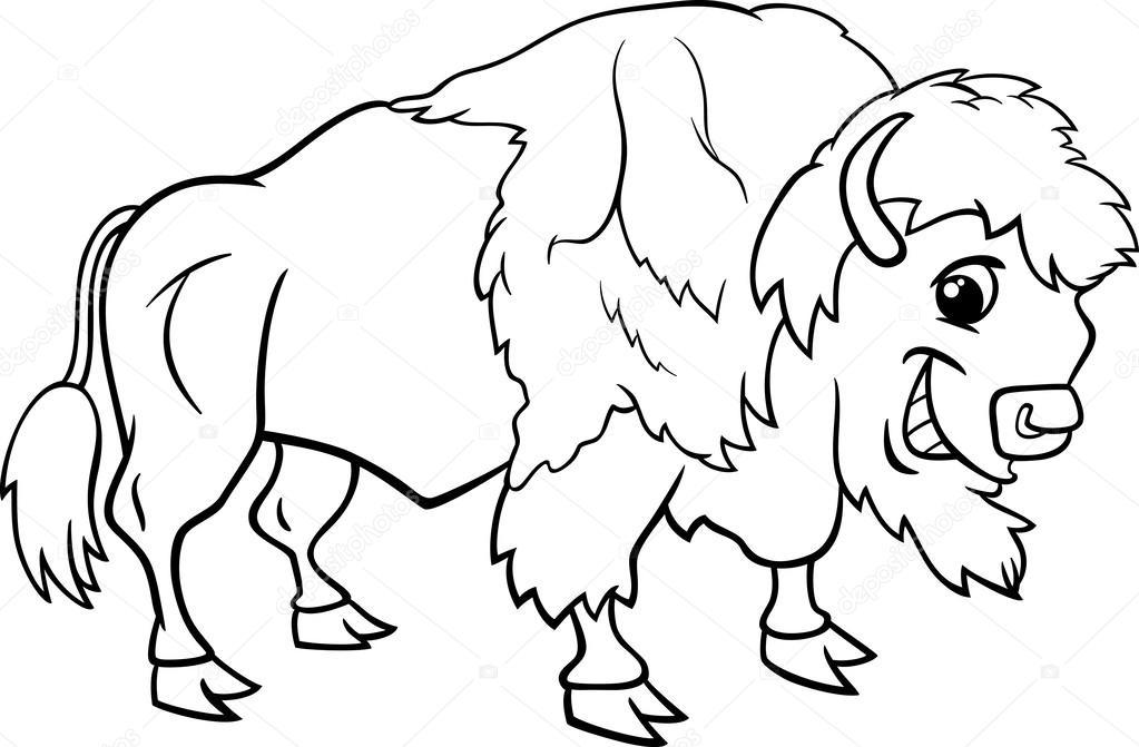 Página para colorear de bisonte búfalo americano — Archivo Imágenes ...