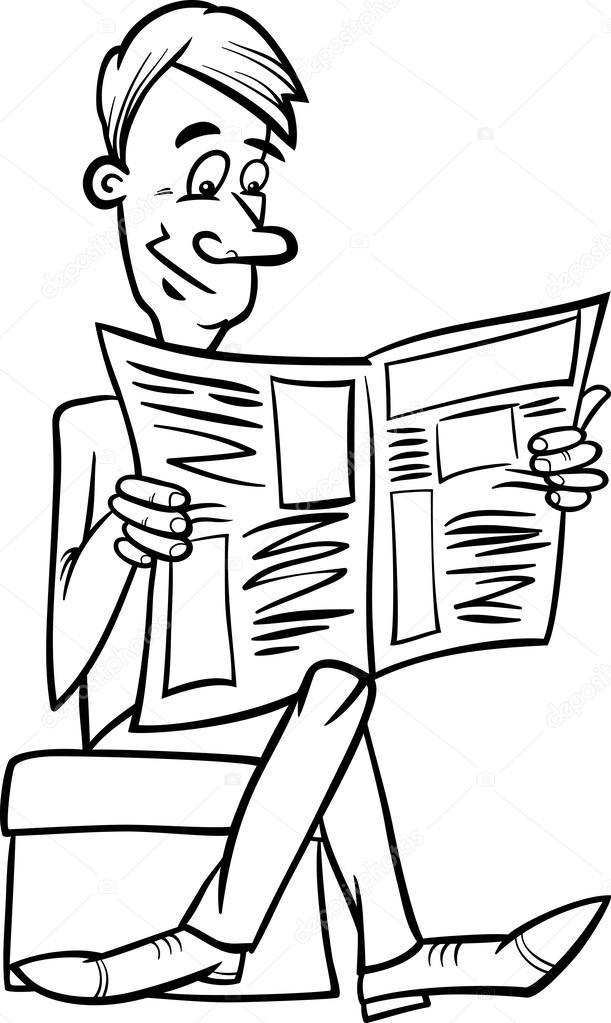 hombre con periódico Página para colorear — Vector de ...