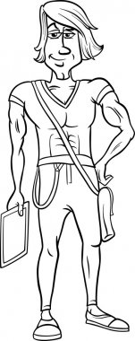 Black and white handsome man cartoon