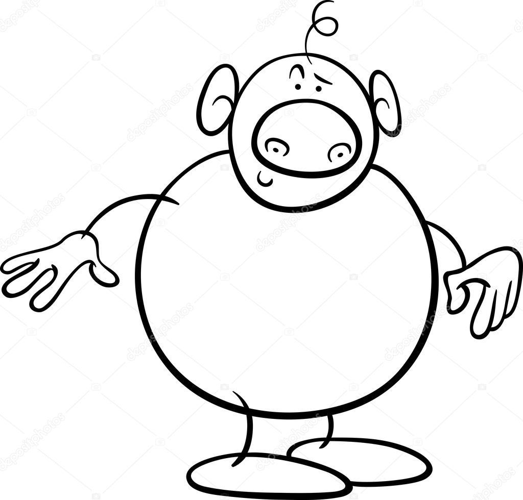 Fantasia Personaggio Dei Cartoni Animati Da Colorare Vettoriali