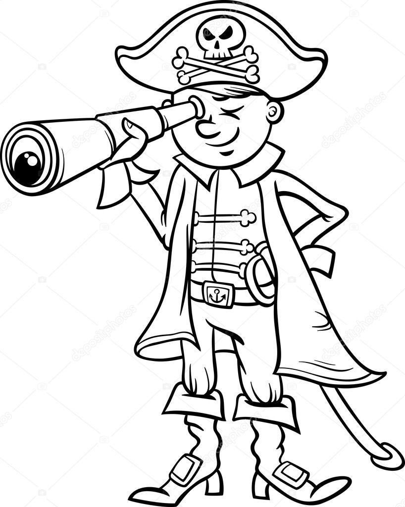 Pirate Jongen Cartoon Kleurplaat Stockvector C Izakowski 49663075