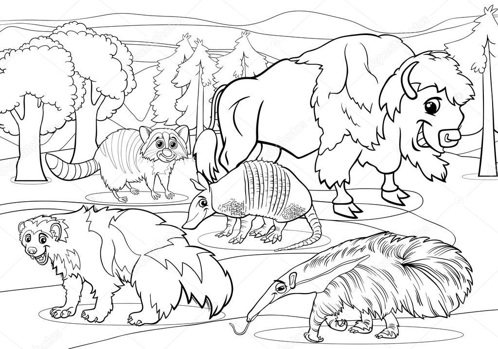 Página para colorear de dibujos animados de animales mamíferos ...