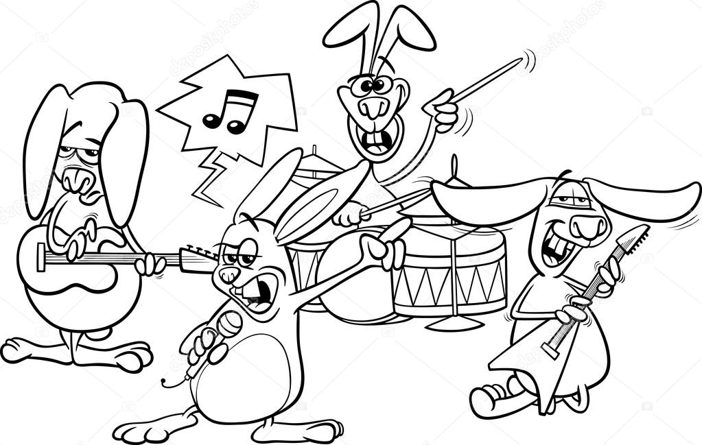 Coloring Book Or Page Cartoon Illustration Of Black And White Funny Rabbits Band Playing Rock Music Concert Vector By Izakowski