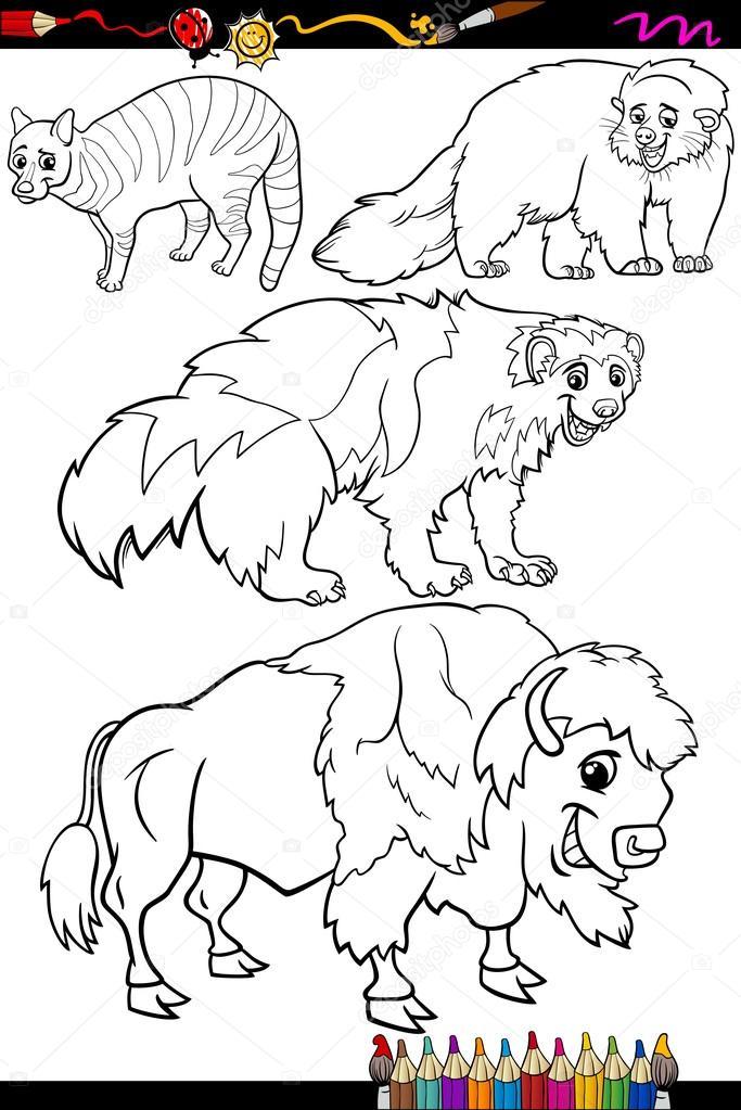 set de animales dibujos animados para colorear libro — Vector de ...