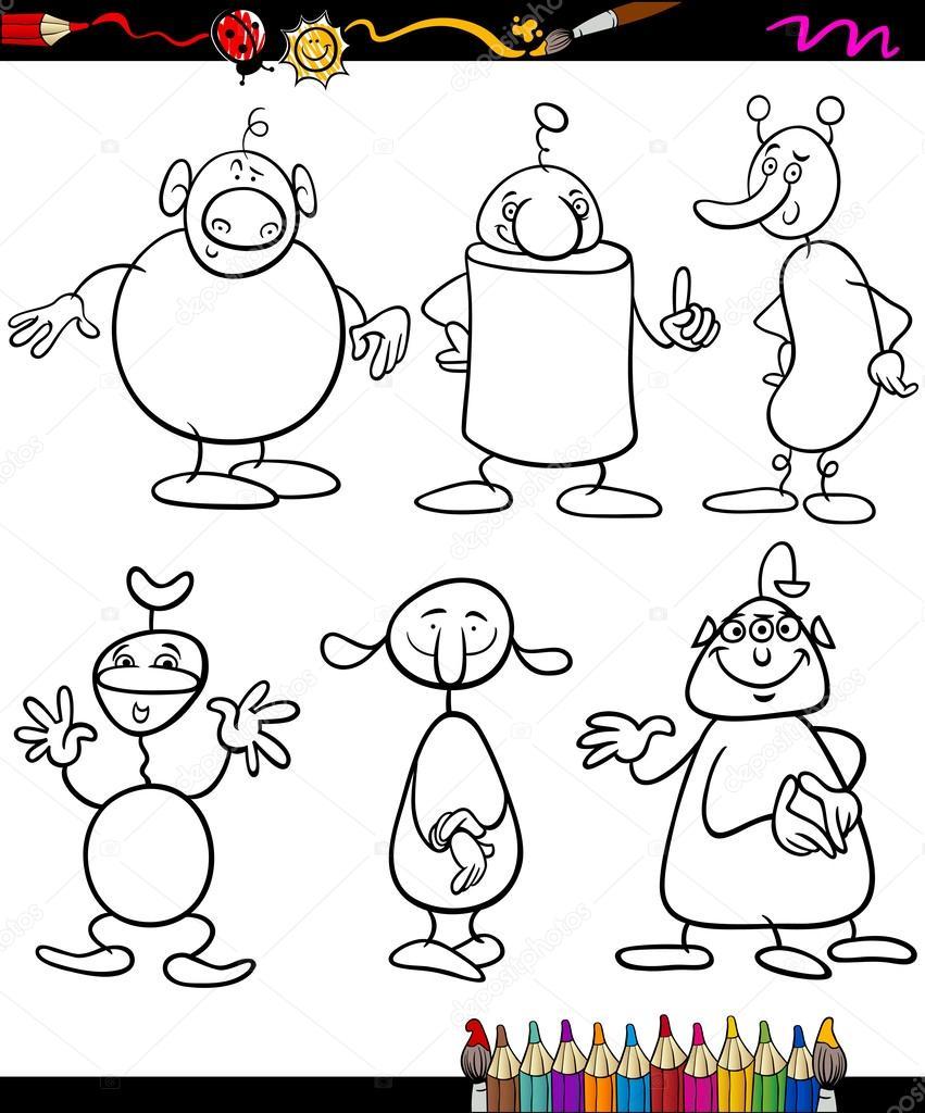 los extranjeros establecer libro para colorear de dibujos animados ...