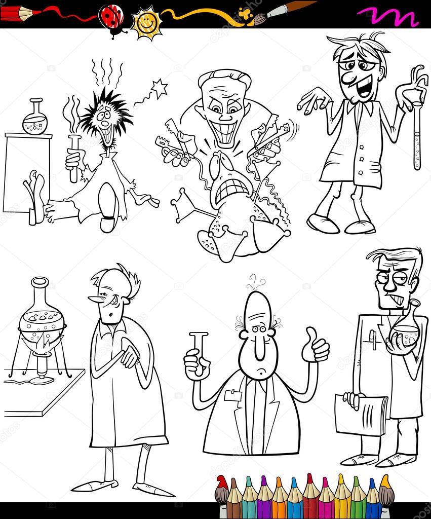 gli scienziati impostare dei cartoni animati, libro da ...