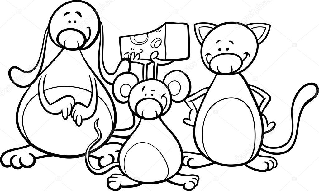 Página para colorear de dibujos animados lindas mascotas — Archivo ...