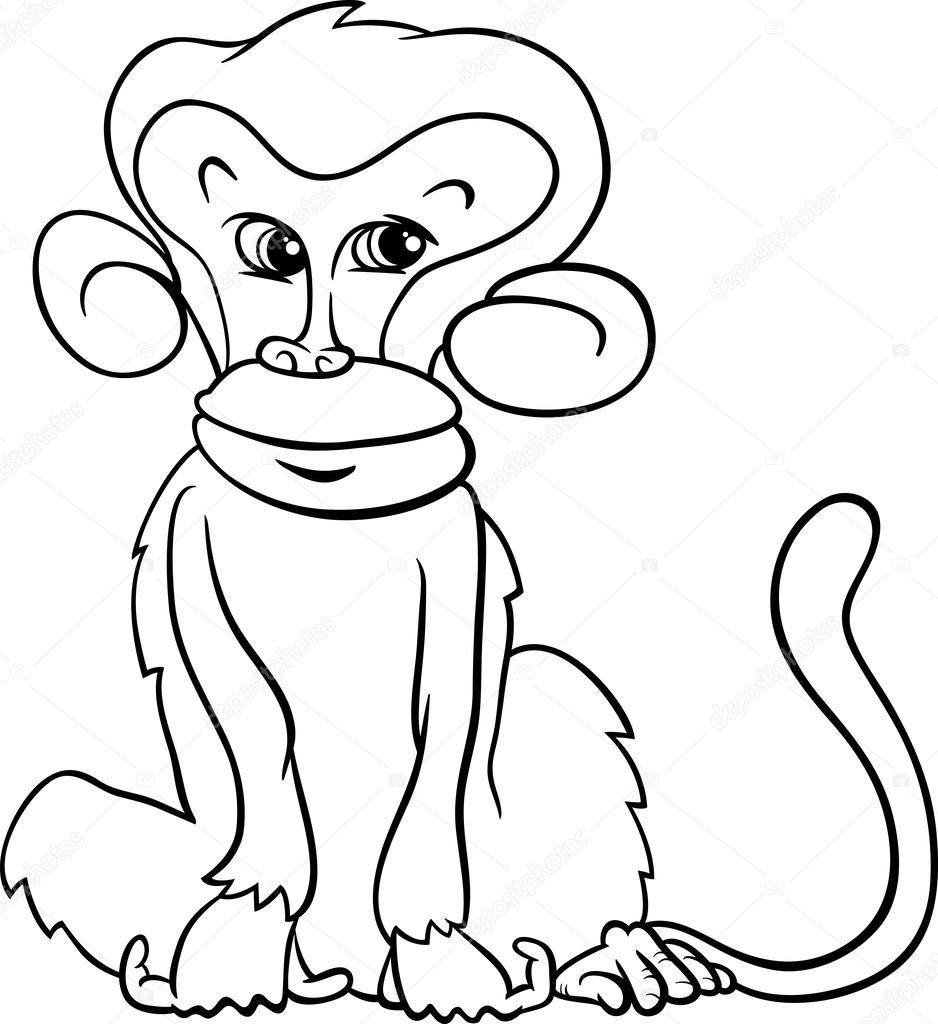 Cute Monkey Cartoon Coloring Page Stock Vector C Izakowski 50068557