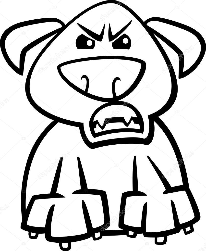 Página para colorear de perro furioso dibujos animados — Vector de ...
