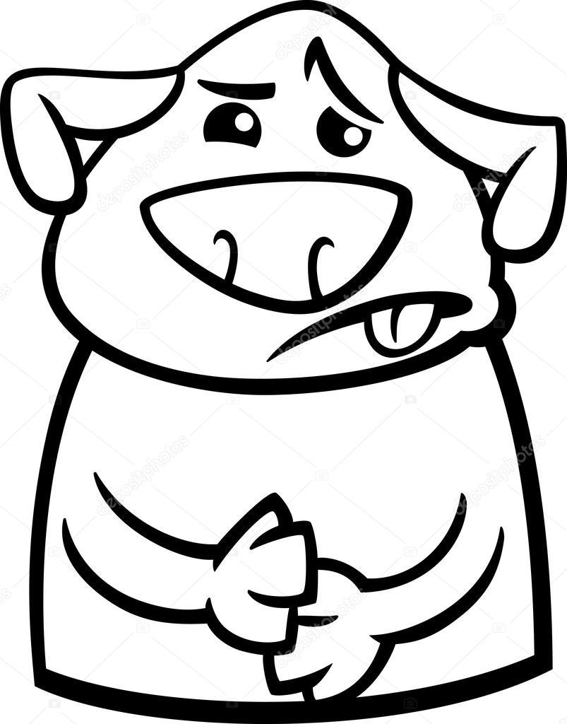 Perro Enfermo Para Colorear De Dibujos Animados Archivo Imágenes