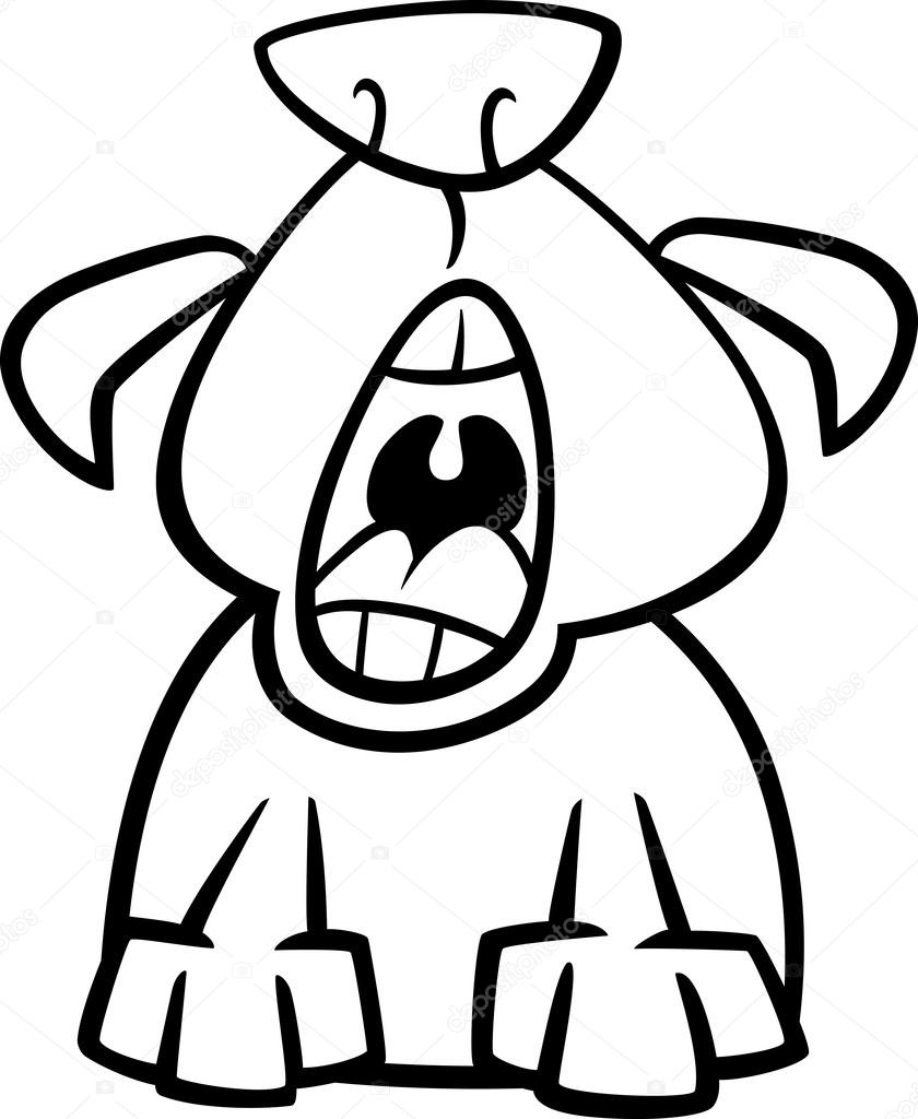 dog yawn cartoon coloring page u2014 stock vector izakowski 50521079