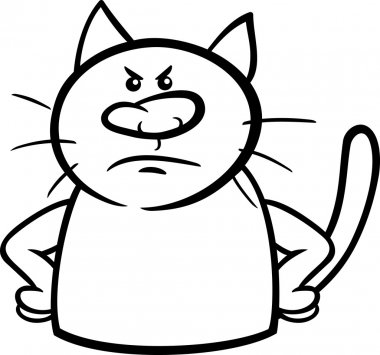 angry cat cartoon coloring page