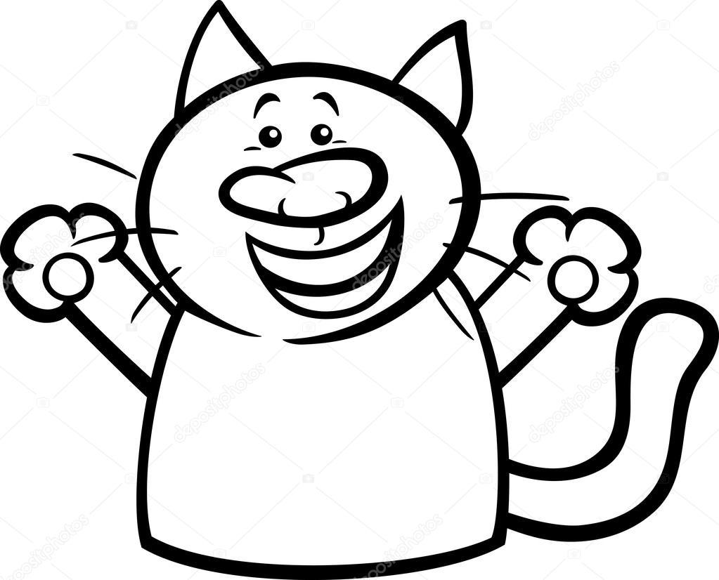 Página para colorear de dibujos animados de gato feliz — Vector de ...