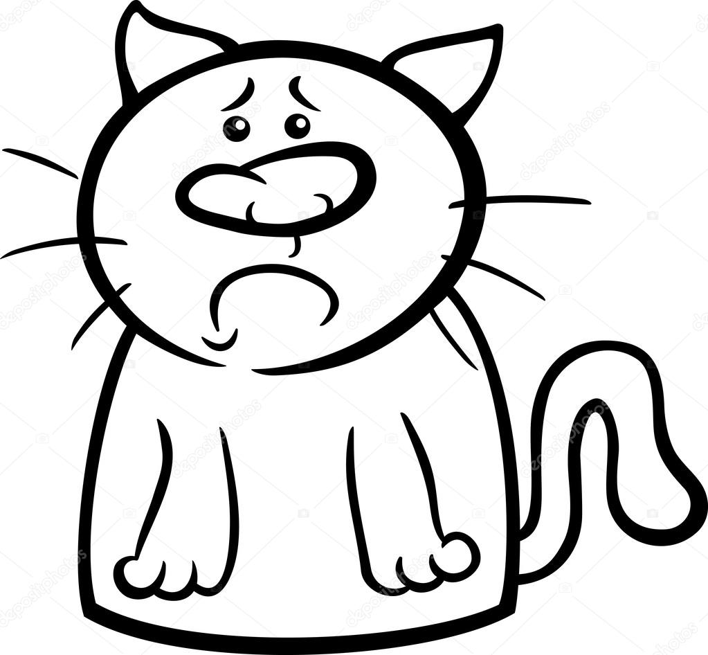 Sad Cat Cartoon Coloring Page Stock Vector C Izakowski 50757843