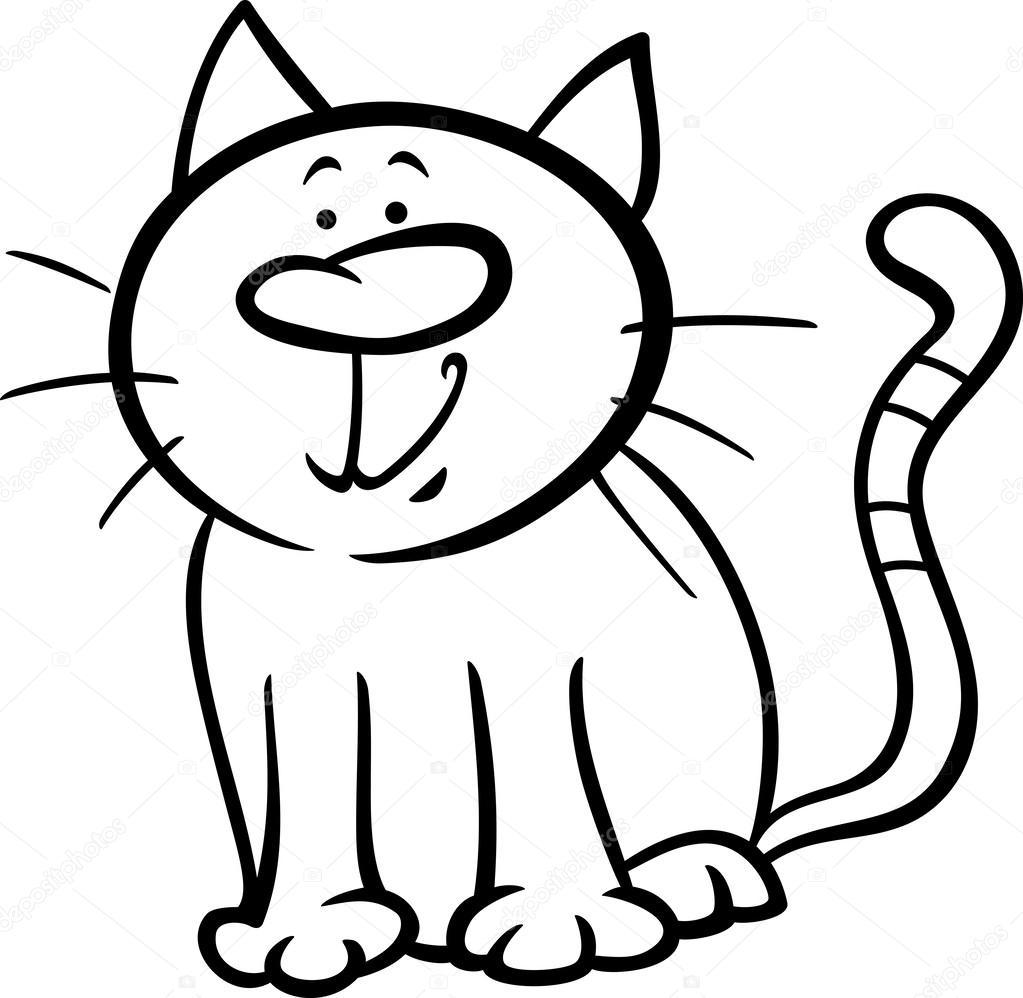 Página para colorear de gracioso gato de dibujos animados — Archivo ...