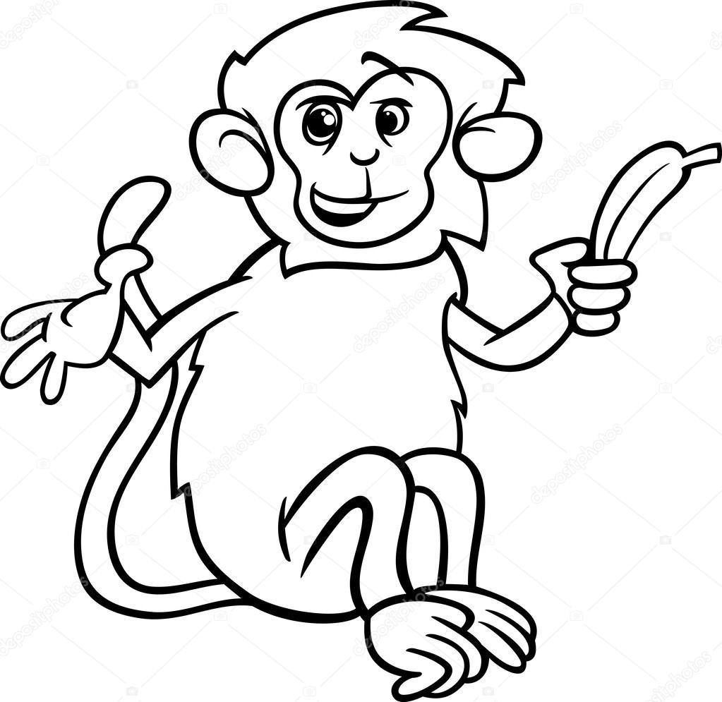 Sayfa Boyama Muz Ile Maymun Stok Vektör Izakowski 50934289