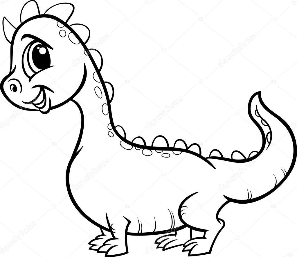Página para colorear de dibujos animados dragón carácter — Vector de ...