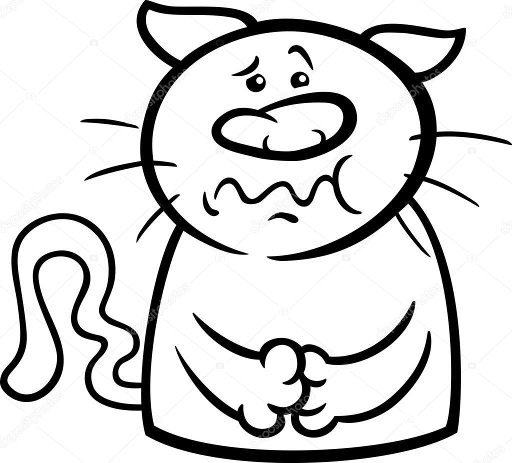 Zieke Kat Cartoon Kleurplaat Stockvector C Izakowski 51191307
