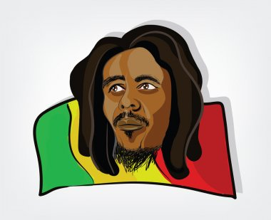 Rasta man on  jamaican flag