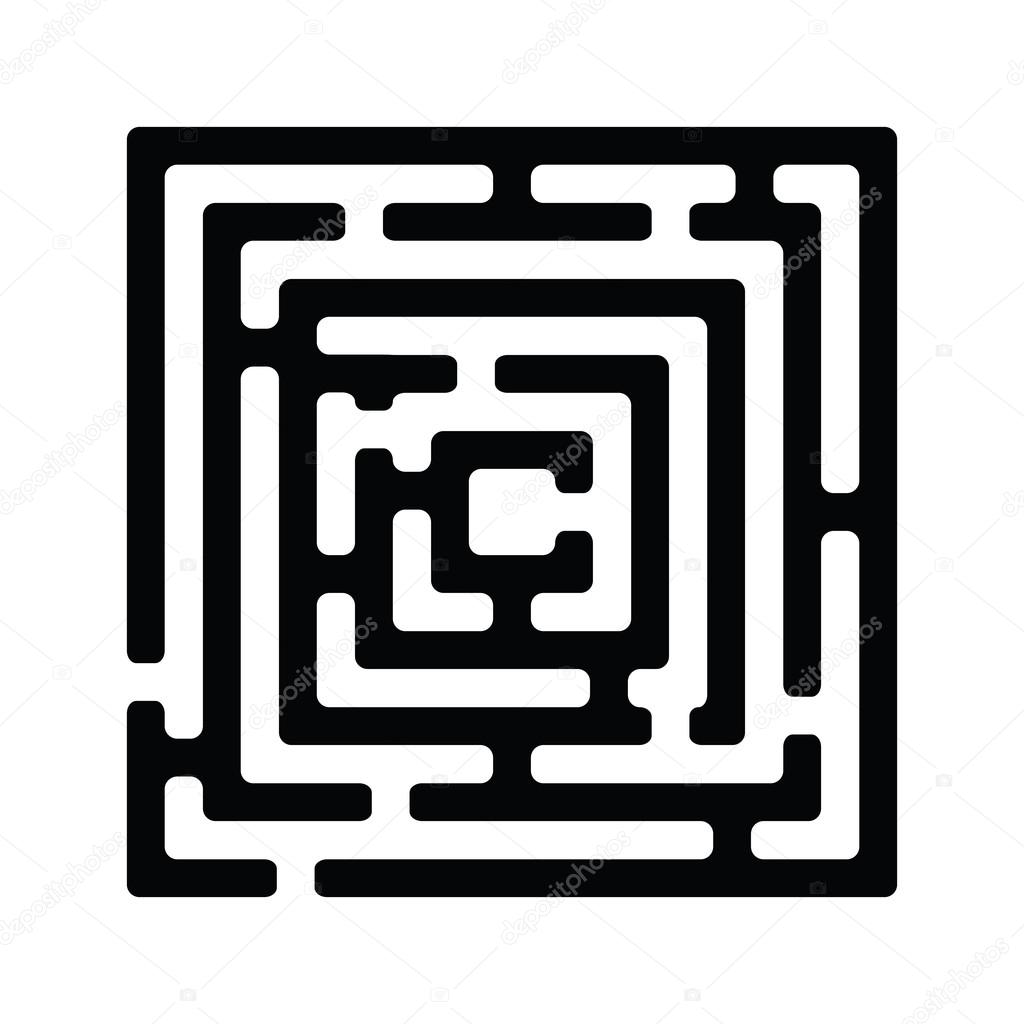 Stock Illustration Simple Black Maze on File Maze Type Standard