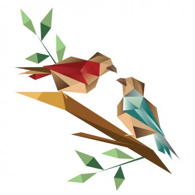 Origami birds sitting on branch
