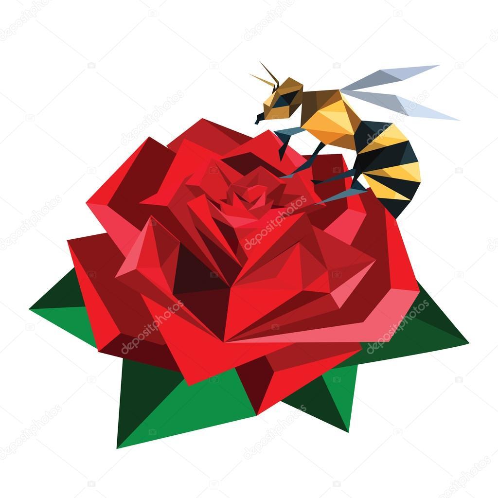 Biene Auf Origami Rose Sitzt Stockvektor Dragoana23 45217455