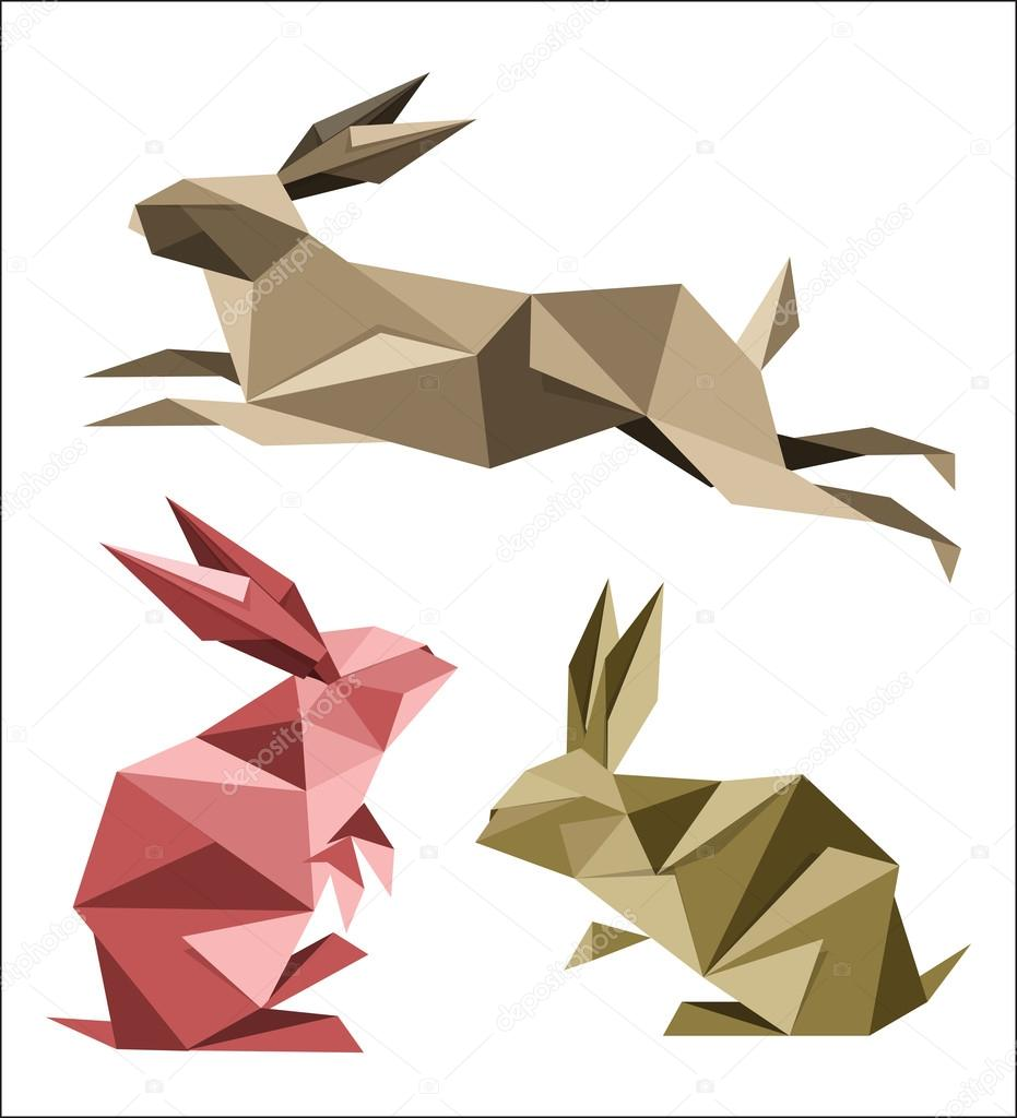 Rabbit hare jumping bunny hop logo icon origami Vector Image | 1024x931