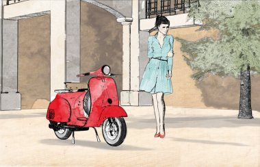 Young woman and red scooter