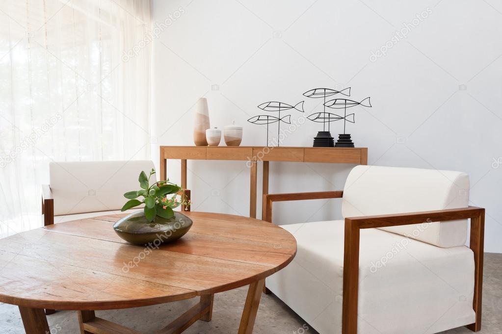 Braune weiße Möbel im Wohnzimmer — Stockfoto © a41cats #21918919