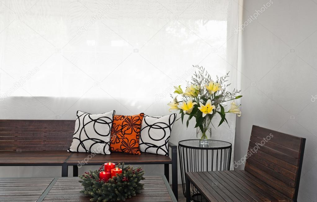 Patio lounge met houten bench u2014 stockfoto © a41cats #40859183
