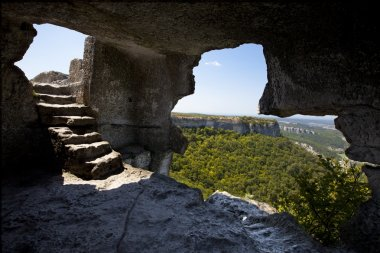 Lookout from the cave and stairs inside