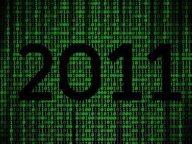 Happy new year binary background