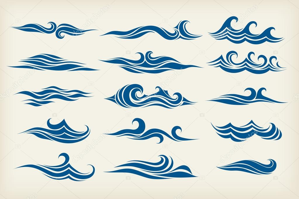 Set from sea waves