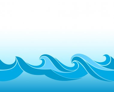 Blue background with stylized waves stock vector