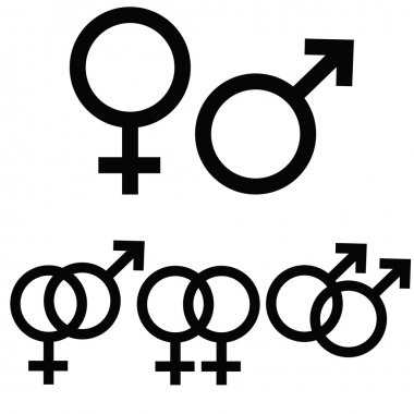Male and female icon signs presented separately, as well as together to symbolize different types of relationship stock vector