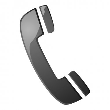 Glossy illustration with a telephone handset icon stock vector