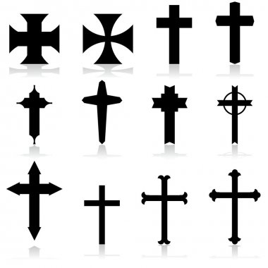Icon set showing crosses in different patterns and designs stock vector