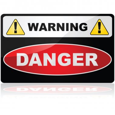 Glossy illustration showing a Warning Danger sign stock vector