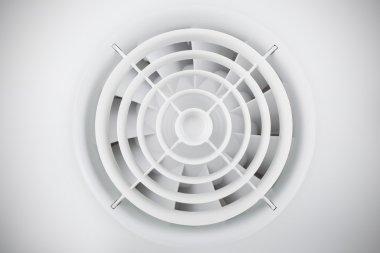 Round white plastic air fan