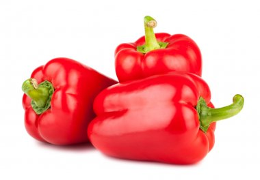 Three sweet red peppers