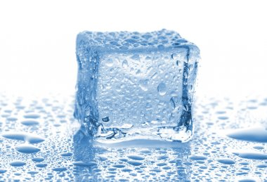 Ice cube with drops of water