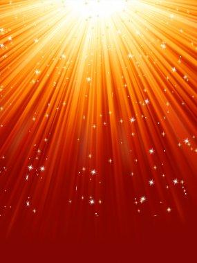 Red golden light burst with sparkling stars. EPS 8