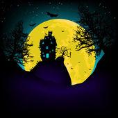 Fotografie strašidelného domu v noci s měsícem. EPS 8