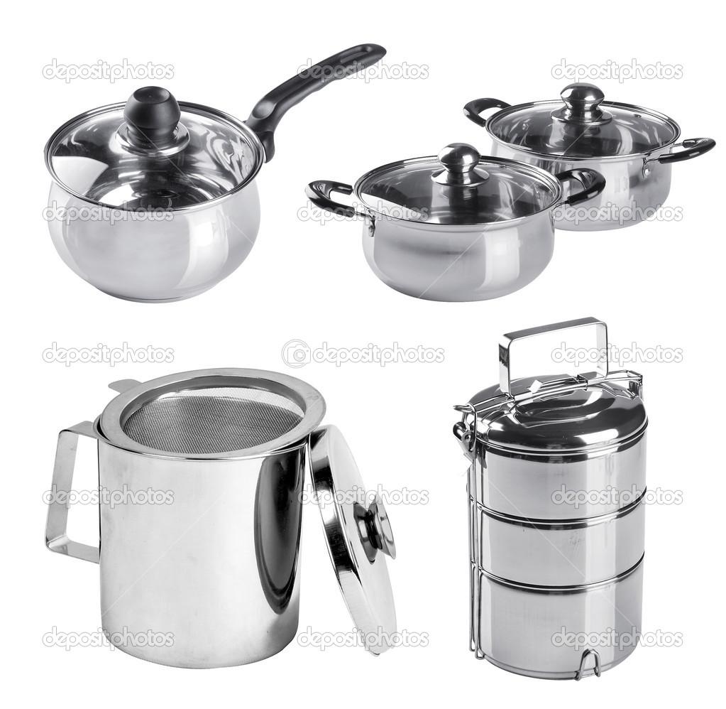 colección de utensilios de cocina de acero inoxidable sobre un fondo ...
