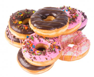 Assorted donuts donuts on a background