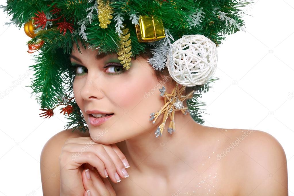 Frau Weihnachten Schones Neues Jahr Und Weihnachtsbaum Urlaub