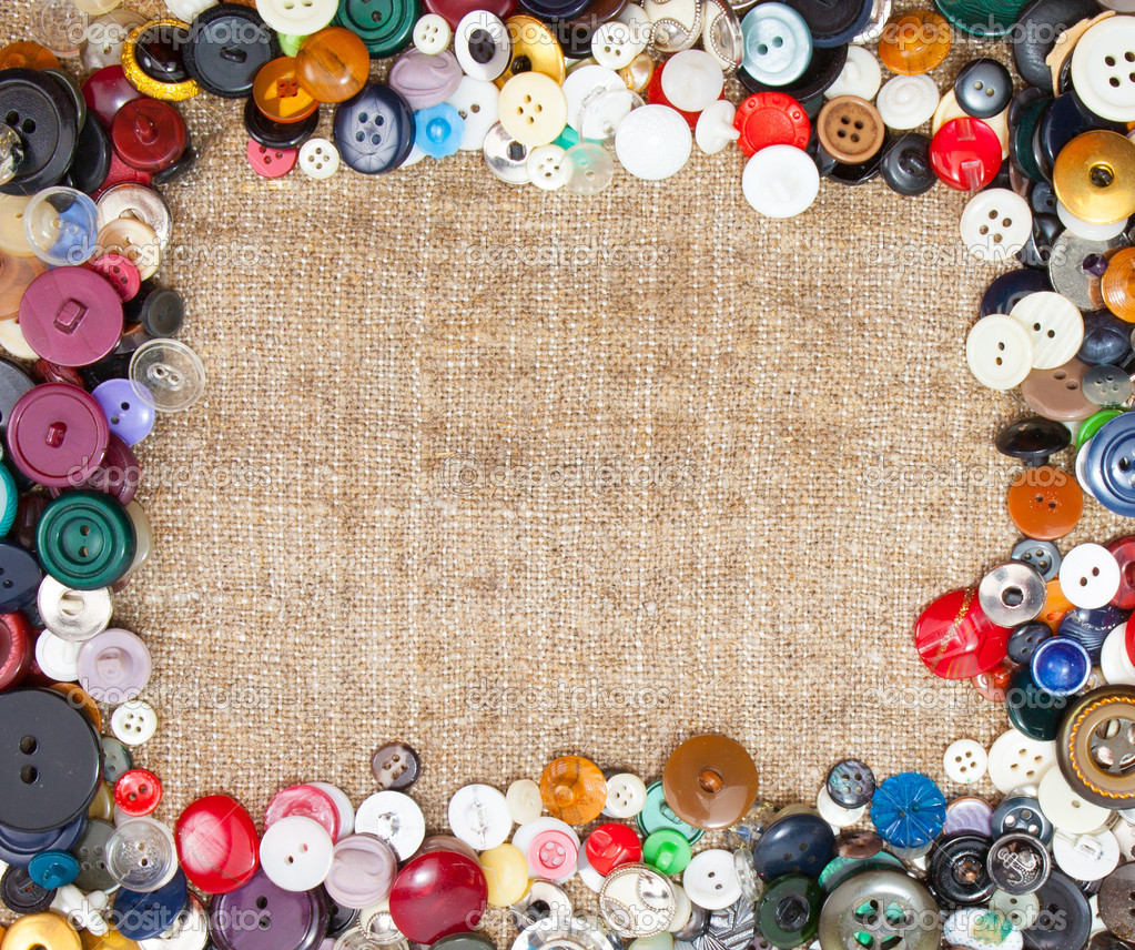 Vintage Sewing Buttons Framing Fabric Background — Stock ...
